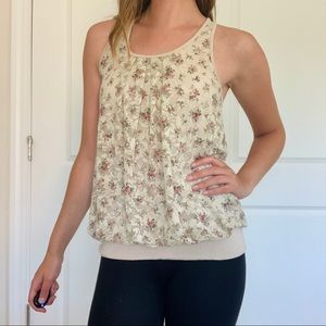 Banded Floral Lace Bow-back Top